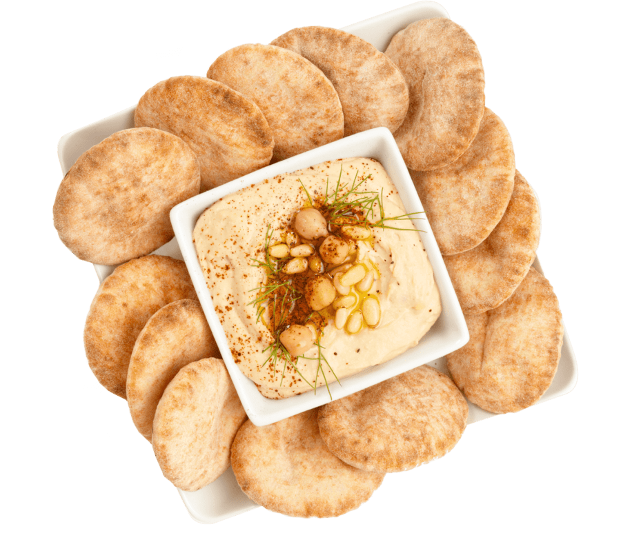 Hummus snack tray with mini pitas