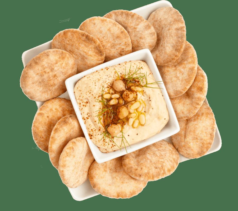 Hummus snack tray with mini pitas