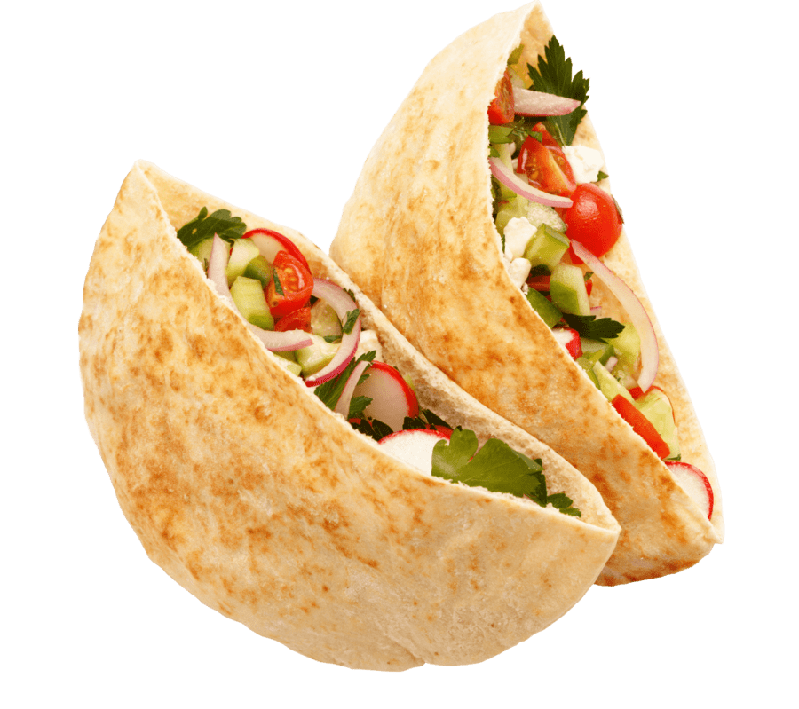 Pita filled with onions, tomatoes, cucumbers, feta and cilantro.